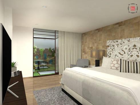 habitación principal: Habitaciones de estilo moderno por JELKH Design Architects s.a.s