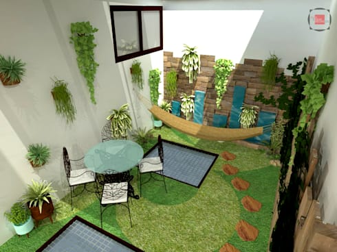patio interior: Jardines de estilo moderno por JELKH Design Architects s.a.s