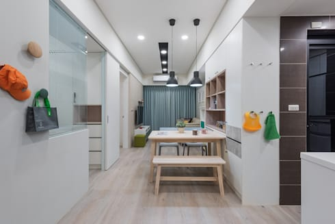 清新自然居:  餐廳 by 倍果設計有限公司