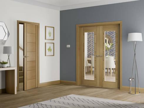 Palermo Oak Internal Door and Glazed Rebated Pair:  Windows & doors  by Modern Doors Ltd