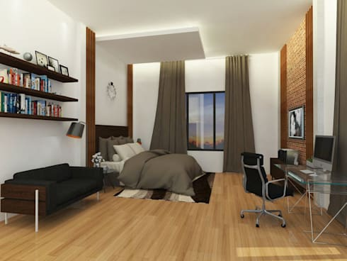 Bedroom 3D Design #5:  ห้องนอน by SIAMTAK CO., LTD.