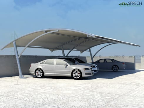 Car Parking Shade Structures:   by Sprech Tenso-Structures Pvt. Ltd.