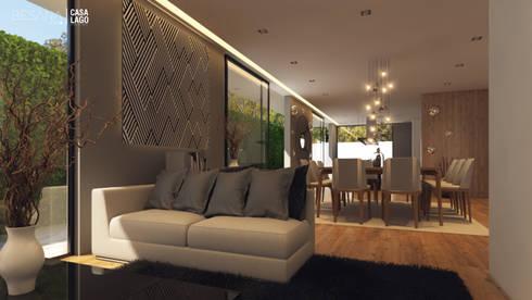 Interior Sala/Comedor: Vestíbulos, pasillos y escaleras de estilo  por Besana Studio