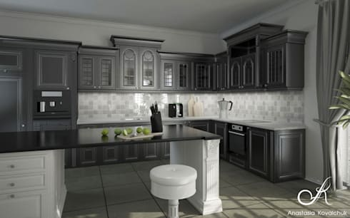 Kitchen drawing room in the house: classic Dining room by Design studio by Anastasia Kovalchuk