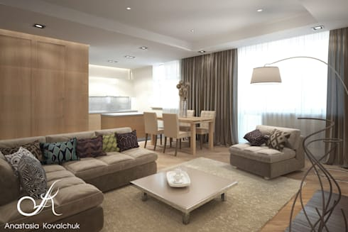 Apartment in Moscow: modern Living room by Design studio by Anastasia Kovalchuk