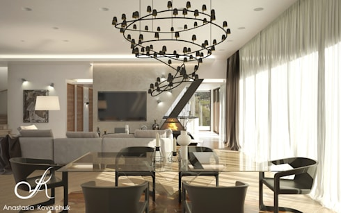 House in a modern style in Moscow: modern Living room by Design studio by Anastasia Kovalchuk