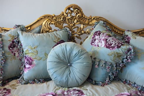 JULIETTE Louis XV French Country Silk Tiffany Blue Floral Sofa Couch