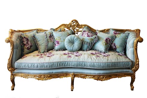 Preferred JULIETTE Louis XV French Country Silk Tiffany Blue Floral Sofa  EF75