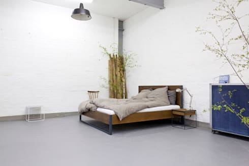 loft vintage industrial bett massivholz und stahl von. Black Bedroom Furniture Sets. Home Design Ideas