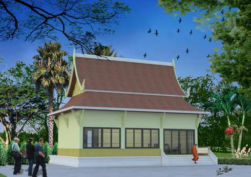 กุฎิวัดเทพลีลา:  บ้านและที่อยู่อาศัย by No.13 Design
