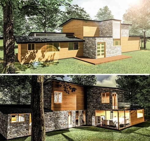 Casa 171: Casas de estilo rústico por ECVA Arquitectura
