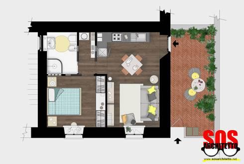 Cucina a vista in bilocale di andrea vertua architetto for Planimetrie in stile acadiano
