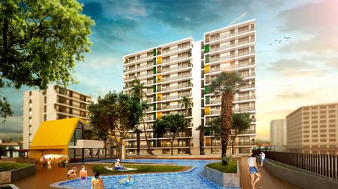 URB. BALCONES DE FLOR AMARILLO: Casas de estilo moderno por MC Arquitectos