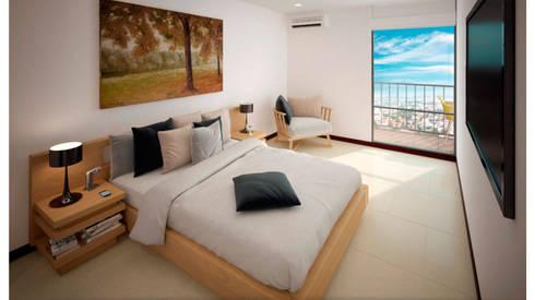 URB. BALCONES DE FLOR AMARILLO: Habitaciones de estilo moderno por MC Arquitectos