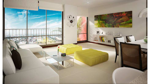 URB. BALCONES DE FLOR AMARILLO: Salas de estilo moderno por MC Arquitectos