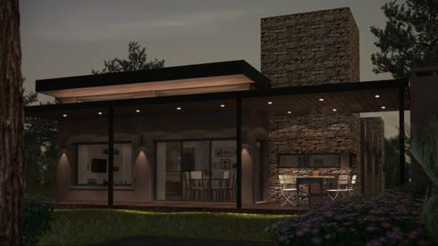 Nocturno solo con luces decorativas: Casas de estilo moderno por OX Render
