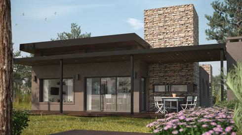 Exterior de día: Casas de estilo moderno por OX Render