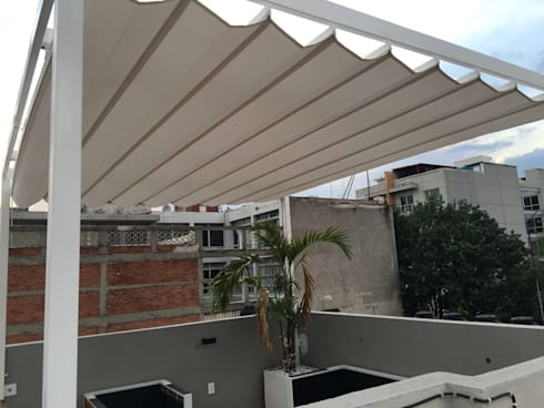 Toldo plegable para p rgola col nia roma de materia viva - Precio toldo terraza ...