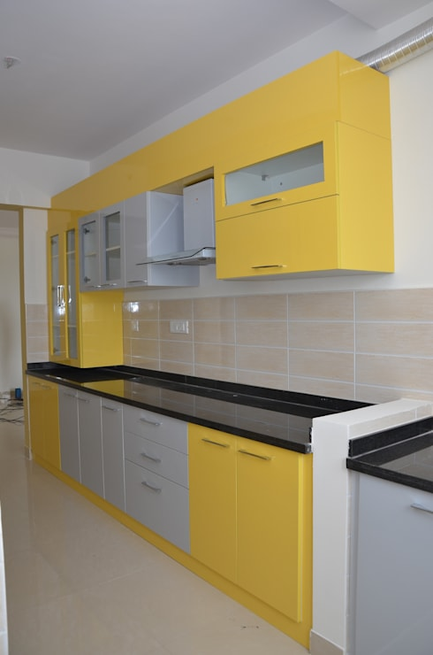 Parallel Kitchen Layout: asian Kitchen by Scale Inch Pvt. Ltd.