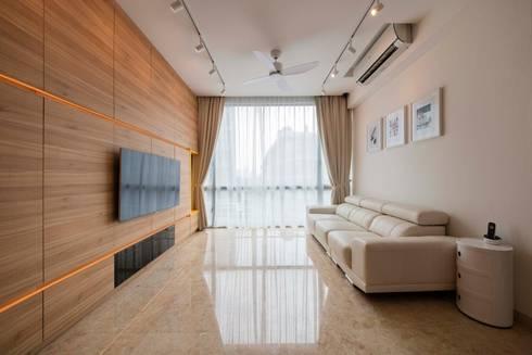 Bartley Residence Interior Design Singapore: minimalistic Media room by Posh Home Interior Design