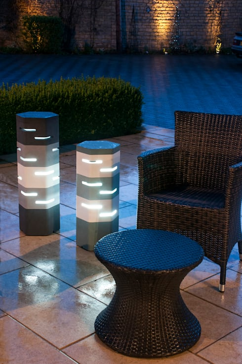 Holix III in Serene Blue Dark and Vanilla Ice alongside Holix IV:  Balconies, verandas & terraces  by Jalu Ltd
