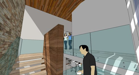 Escalera central: Pasillos y vestíbulos de estilo  por MARATEA Estudio