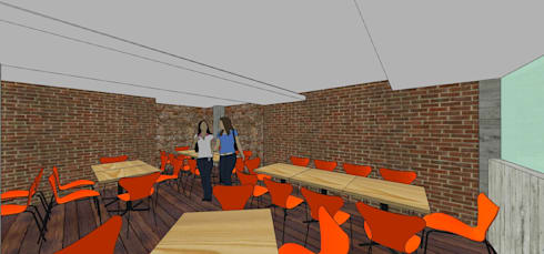 Área de mesas: Restaurantes de estilo  por MARATEA Estudio