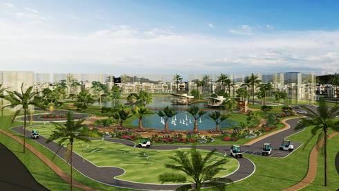 Diseño arquitectonico / urbano paisajista - Novaterra Ocean City / Grama construcciones: Jardines de estilo mediterráneo por ecoexteriores