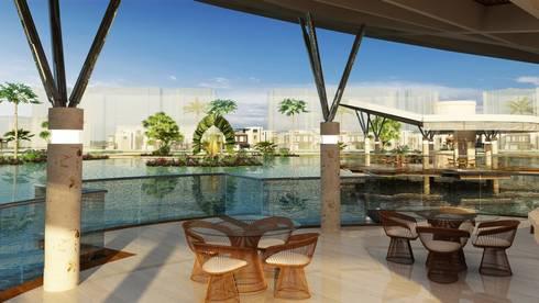 Diseño arquitectonico / urbano paisajista – Novaterra Ocean City / Grama construcciones: Terrazas de estilo  por ecoexteriores
