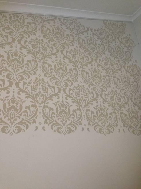 Damask Stencil in Beige (Venus) : modern Bedroom by Beautiful Changes