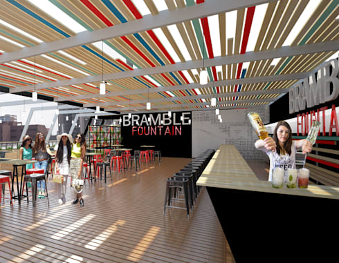 Bar area:  Car Dealerships by A4AC Architects