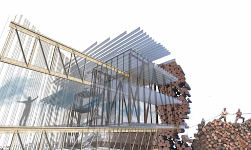 Exploded perspective:  Commercial Spaces by A4AC Architects
