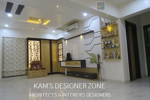 Home Interior Design for PREETI AGARWAL:  Walls by KAM'S DESIGNER ZONE