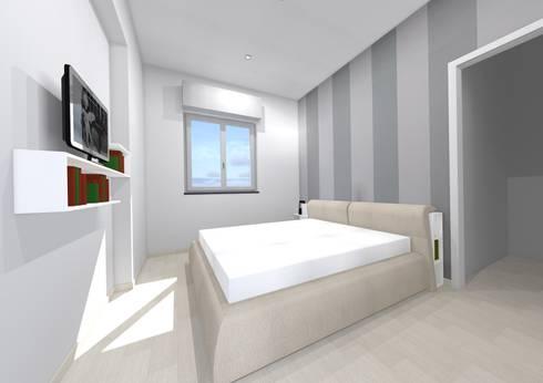 Studio dell\'arredo per camera da letto di piccole dimensioni di ...