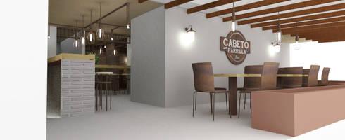 CABETO _Parrilla: Locales gastronómicos de estilo  por tresarquitectos