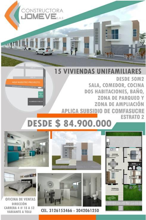 URBANIZACION LAS CANARIAS – CONSTRUCCIÓN DE 15 VIVIENDAS UNIFAMILIARES:  de estilo  por CONSTRUCTORA JOMEVE S.A.S