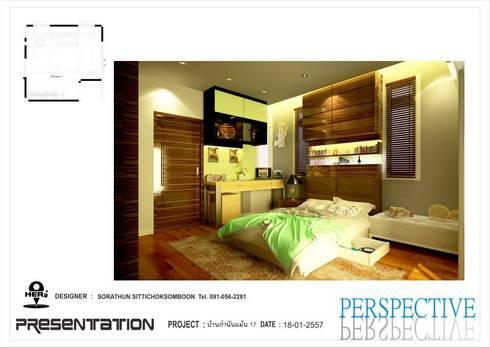 ห้องนอน 1:   by ็HERE DESIGN