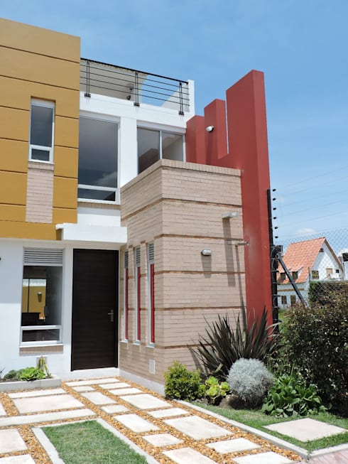 FACHADA CASA TERRACOTA: Casas de estilo moderno por DG ARQUITECTURA COLOMBIA