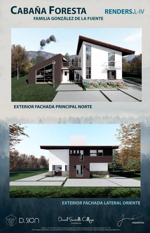 Fachada cabaña floresta : Casas de estilo rústico por De.sign