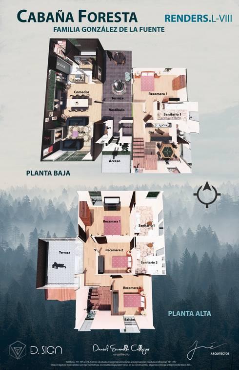Plantas en render : Casas de estilo rústico por De.sign