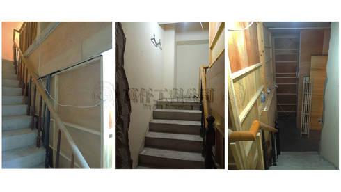 改造前,房屋好像未完成的毛胚屋,連樓梯扶手都是臨時的。:   by wanchan interior / 萬仟工程有限公司