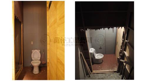 改造前打開第三戶原本廁所封死的木隔間後,終於找到另一隻樓梯,而第二戶的樓梯已經被拆光光…..:   by wanchan interior / 萬仟工程有限公司