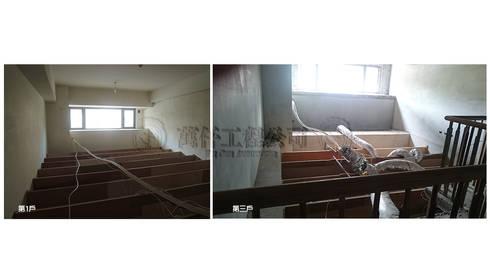 改造前第一戶和第三戶的視野凌亂的天花板骨架和空調風管。:   by wanchan interior / 萬仟工程有限公司