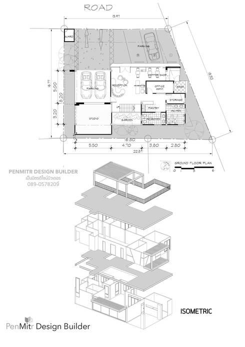 อาคารสำนักงาน 2 ชั้น มีดาดฟ้า ทาวน์อินทาวน์ กทม. คุณซี ฉัตว์ปวีย์:   by penmitrdesignbuilder
