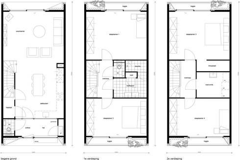 plattegronden: moderne Huizen door 8A Architecten