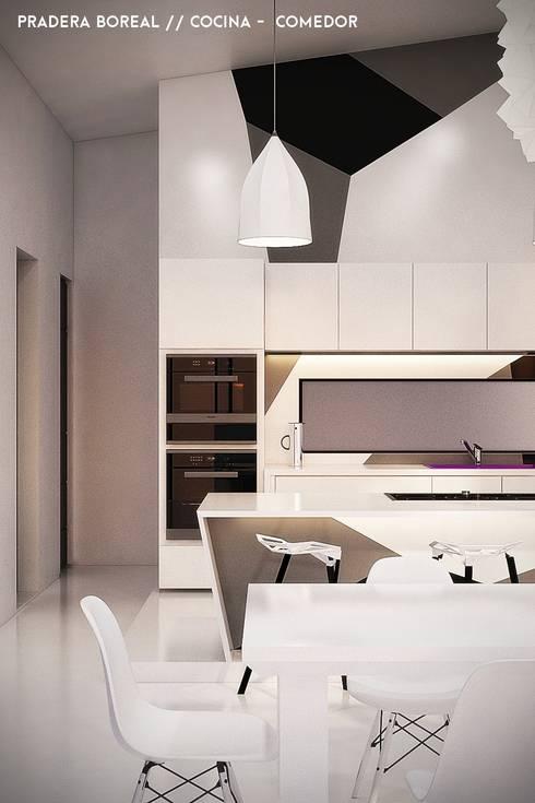 Cocina e Isla: Cocinas de estilo moderno por Jaime Quintero Diseño