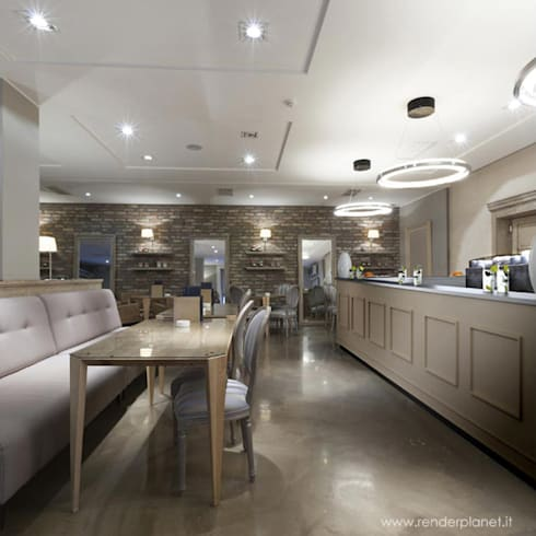 coffee counter render:  Office spaces & stores  by renderplanet.it