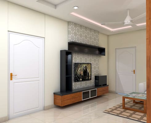 Living Space: minimalistic Living room by FORTUNE DECOR
