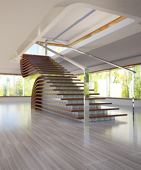 Reel Stair:  Corridor, hallway & stairs  by TheeAe Architects