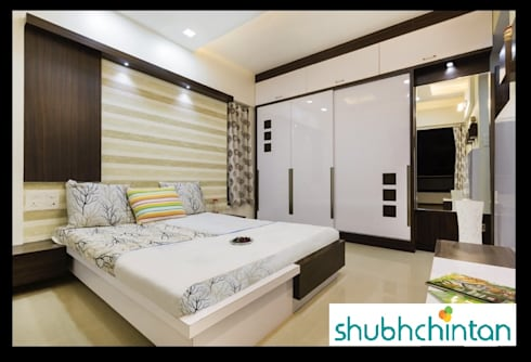 bed and wardrobe details: modern Bedroom by shubhchintan